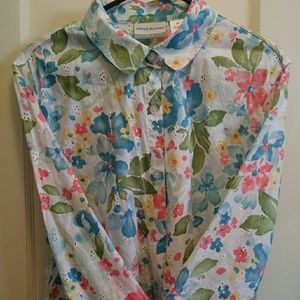 Women's Blouse Button Down Alfred Dunner Petite